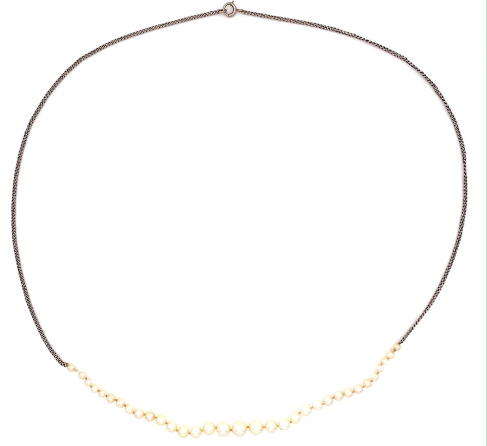 14K WG Graduated NATURAL Pearls Necklace GIA 4.78-2.32mm 3.3g, 16""