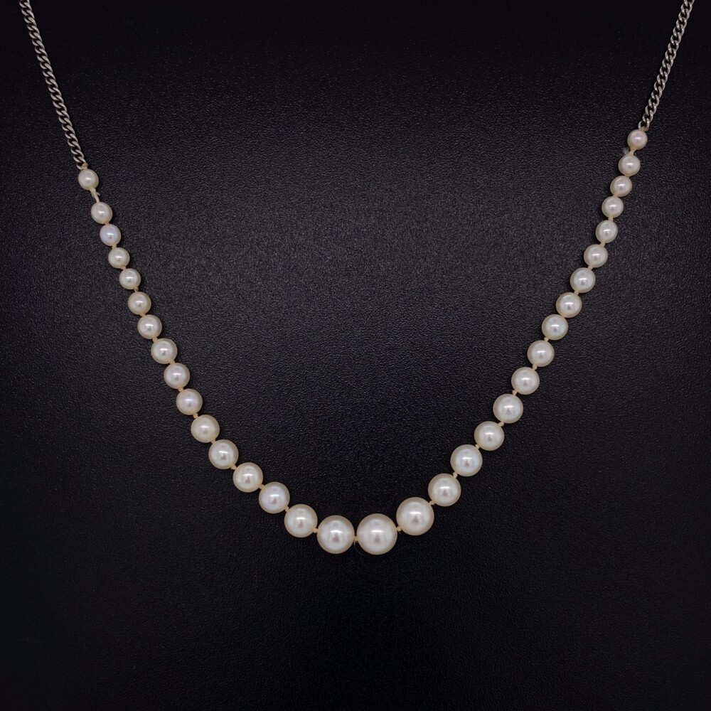 Image 2 for 14K WG Graduated NATURAL Pearls Necklace GIA 4.78-2.32mm 3.3g, 16""