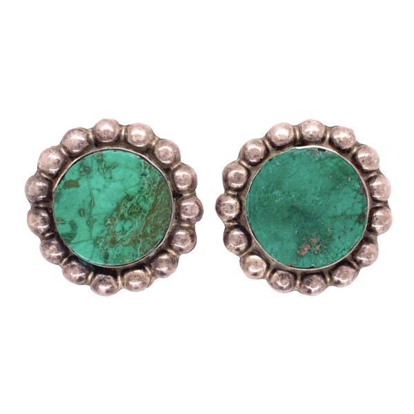 Closeup photo of 925 Sterling Round Green Turquoise Clip Earrings 18.9g