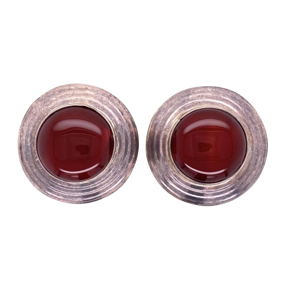 925 Sterling Carnelian Clip Earrings 25.5g