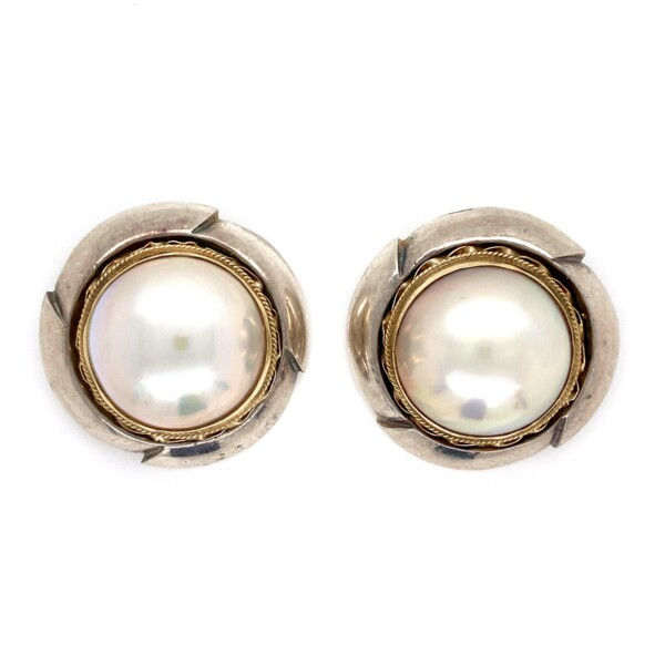 Closeup photo of 14K & 925 Mabe Pearl Clip Earrings 19.1g
