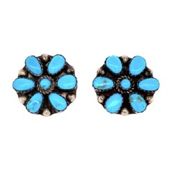 Closeup photo of 925 Sterling Native Zuni Turquoise Earrings 5.2g