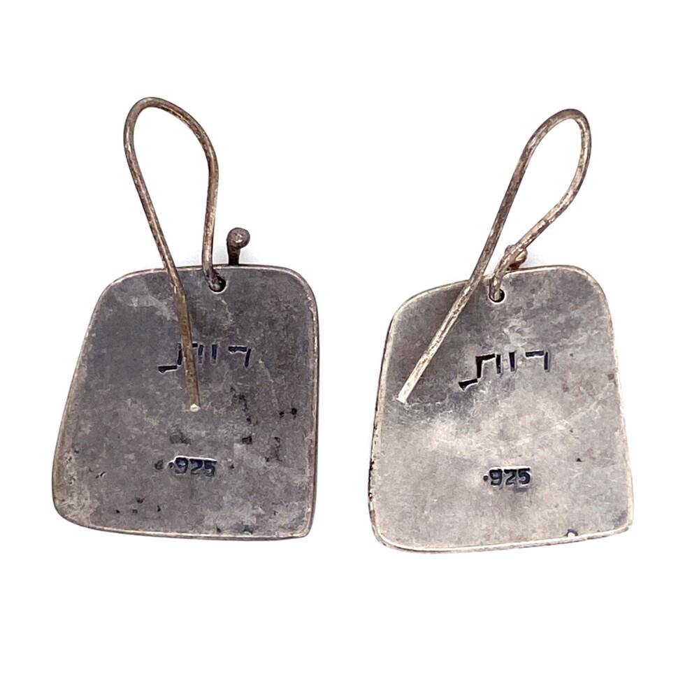 925 Sterling Engraved Turtle Tablet Earrings 7.8g
