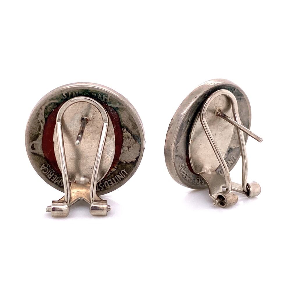 Image 2 for Silver Indian Head Buffalo Nickel Clip Earrings 12.6g