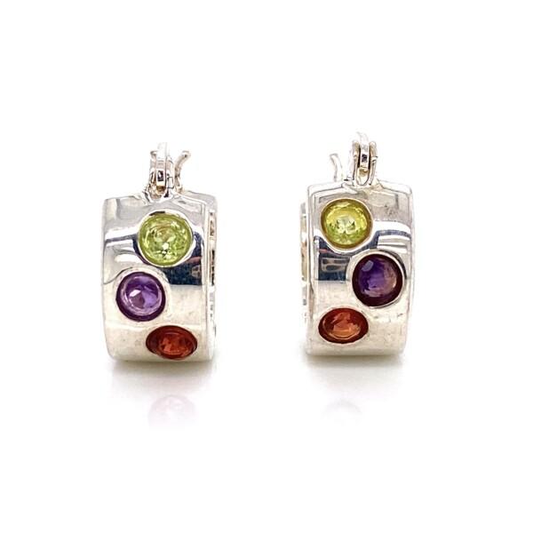 Closeup photo of 925 Sterling Gemstone Huggie Hoop Earrings 5.2g