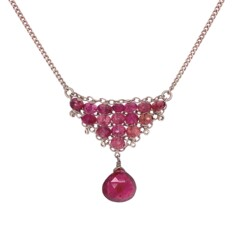 """Closeup photo of 925 Sterling Rubelite Pink Tourmaline Cluster Necklace 5.1g, 16"""""""