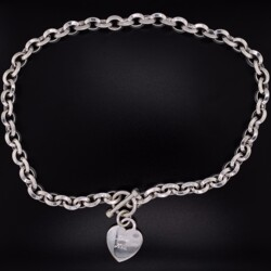 """Closeup photo of 925 Sterling Oval Link Necklace Toggle Clasp 68.2, 17"""""""