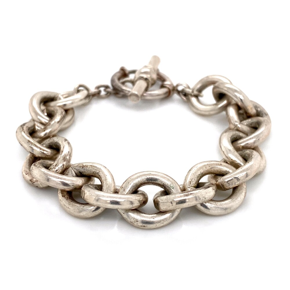 Image 2 for 925 Sterling Round Link Bracelet Toggle Clasp 57.4g, 8in