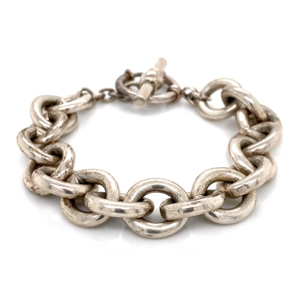 Closeup photo of 925 Sterling Round Link Bracelet Toggle Clasp 57.4g, 8in