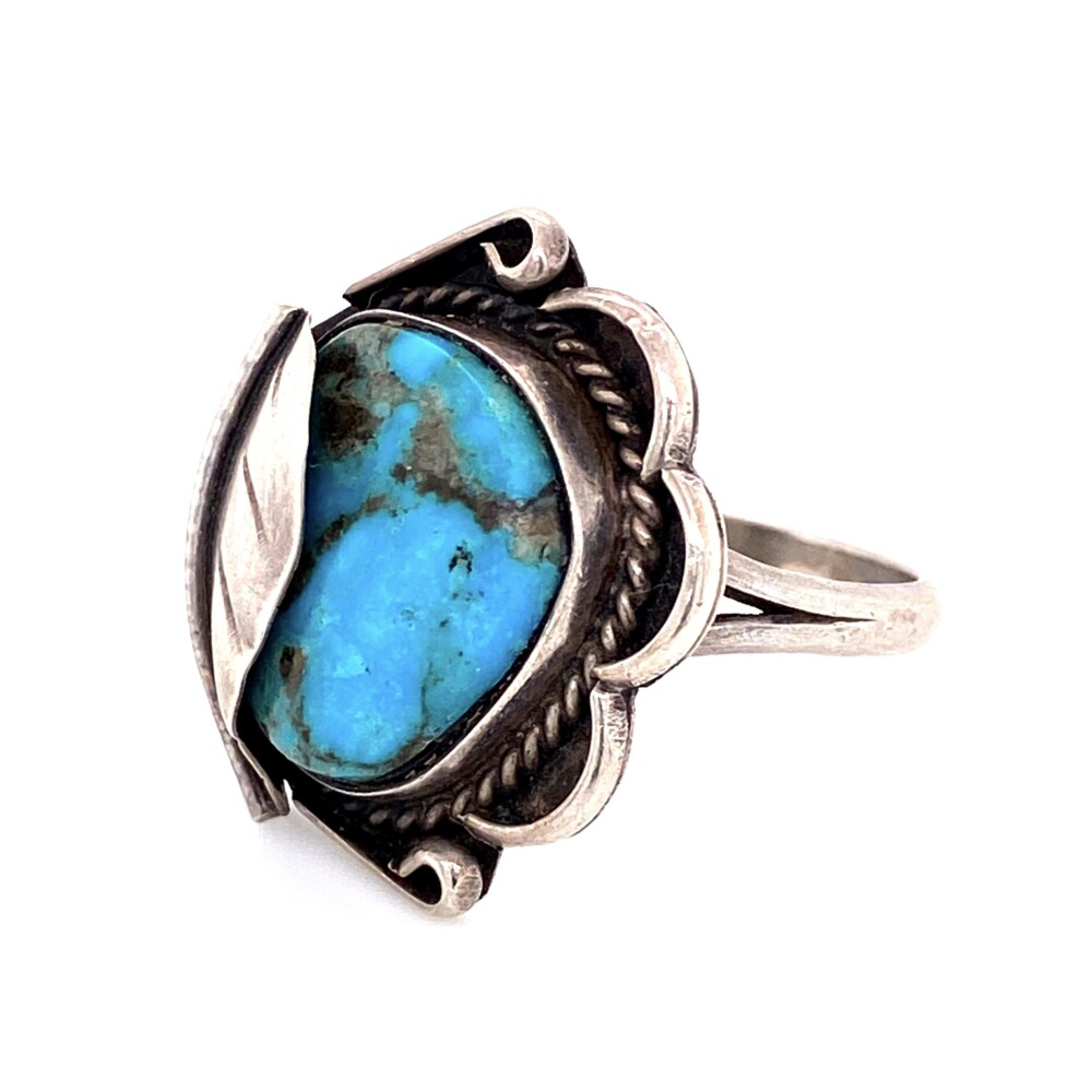 Image 2 for 925 Sterling Native Turquoise Ring Leaf Over Design 6.1g, s8.25