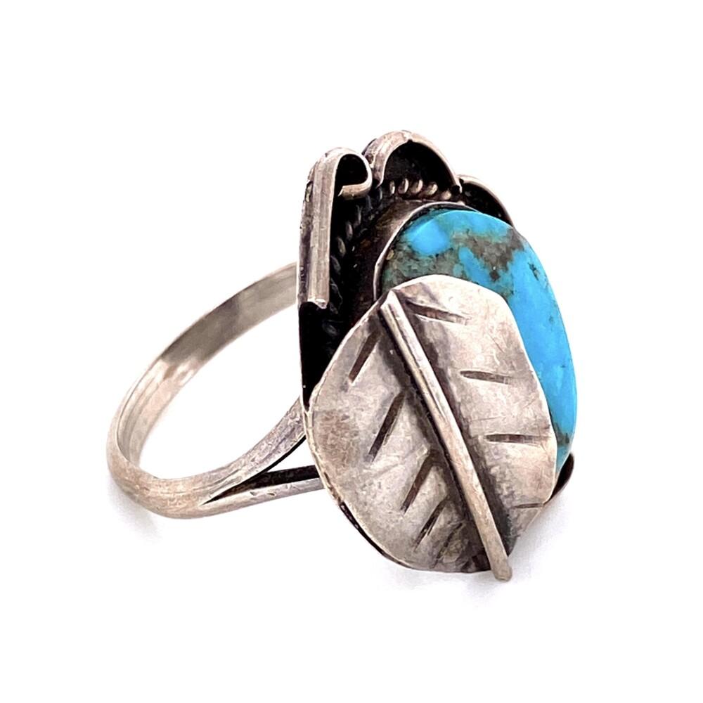 925 Sterling Native Turquoise Ring Leaf Over Design 6.1g, s8.25