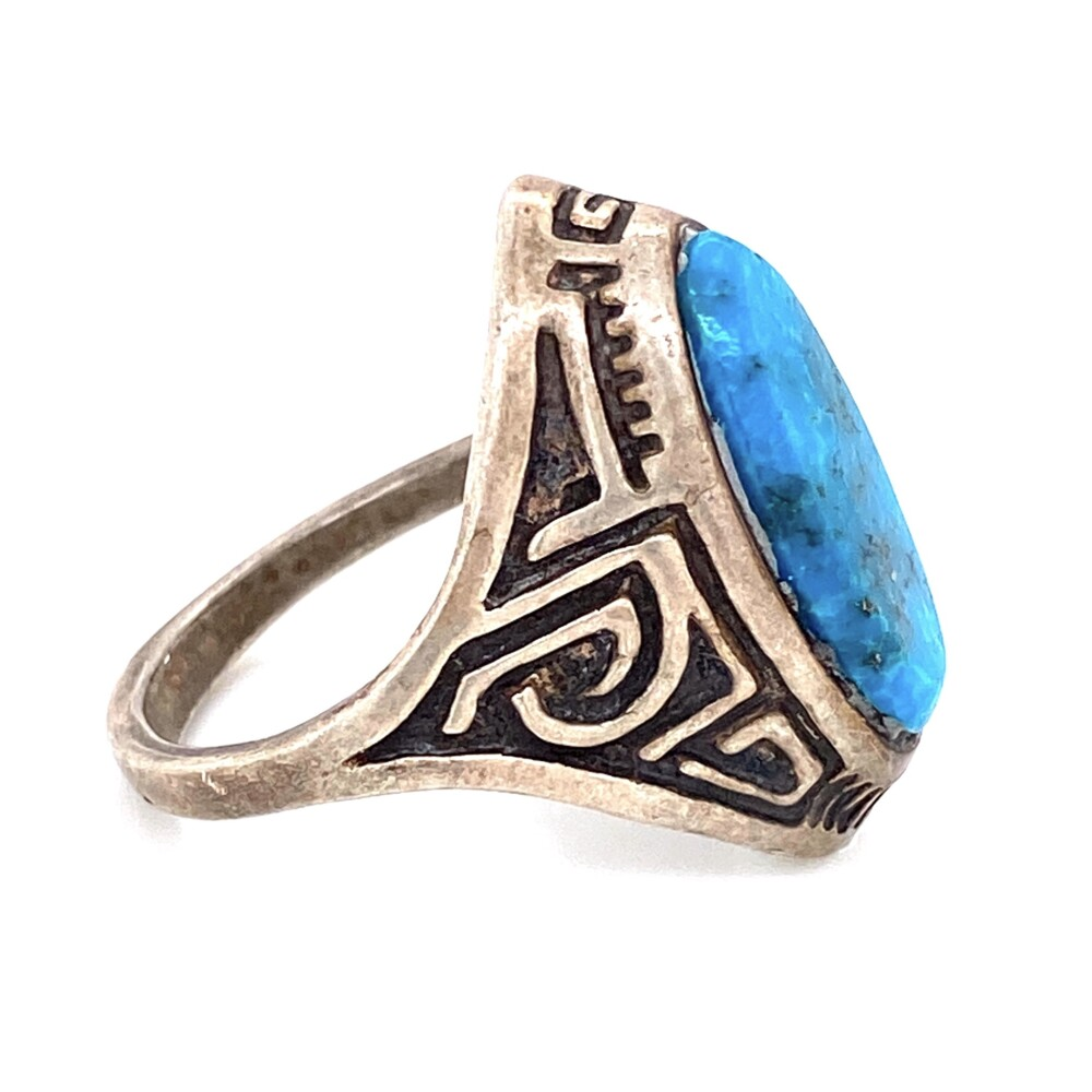 925 Sterling Engraved Turquoise Ring 8.4g, s9