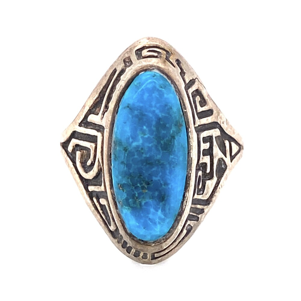 Image 2 for 925 Sterling Engraved Turquoise Ring 8.4g, s9