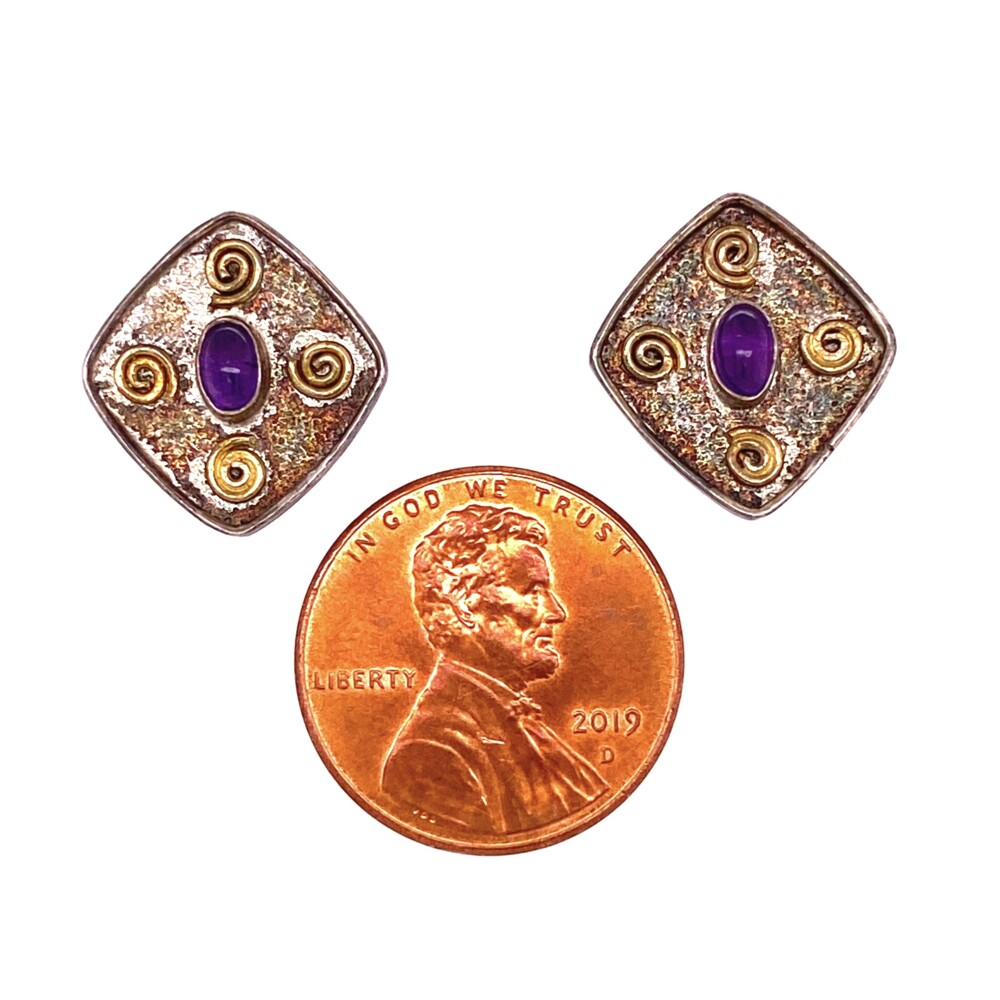 Image 2 for 925 Sterling Stud Earrings with Amethyst 2.7g