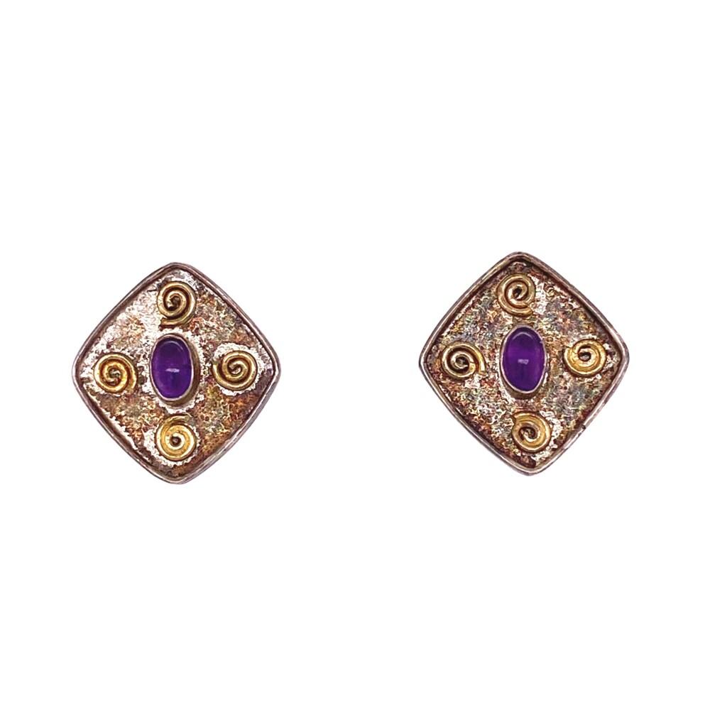 925 Sterling Stud Earrings with Amethyst 2.7g