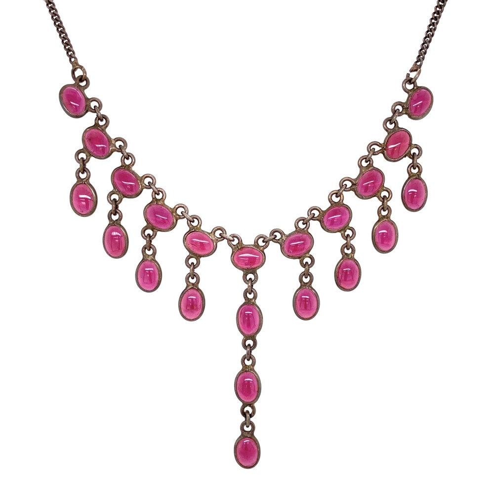 """Image 2 for 925 Sterling Red Glass Bib Necklace 11g, 17"""""""