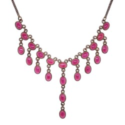 """Closeup photo of 925 Sterling Red Glass Bib Necklace 11g, 17"""""""