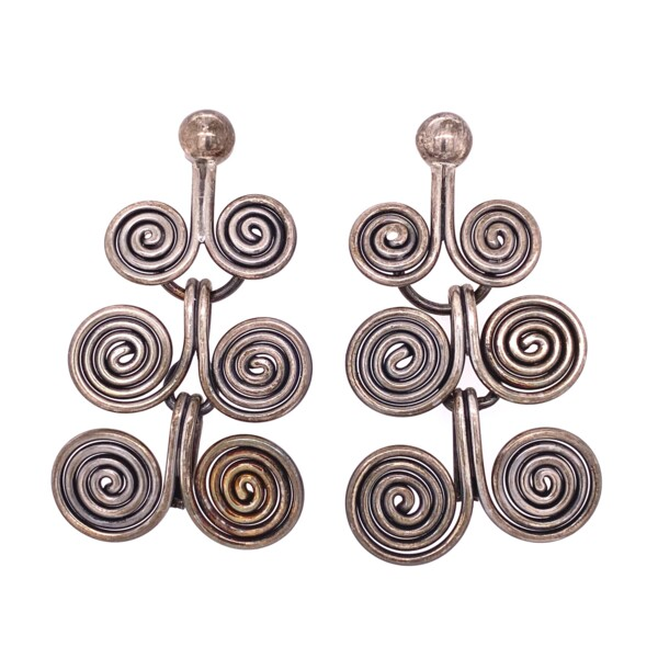 Closeup photo of 925 Sterling 6 Swirl Chandelier Earrings 15.9g
