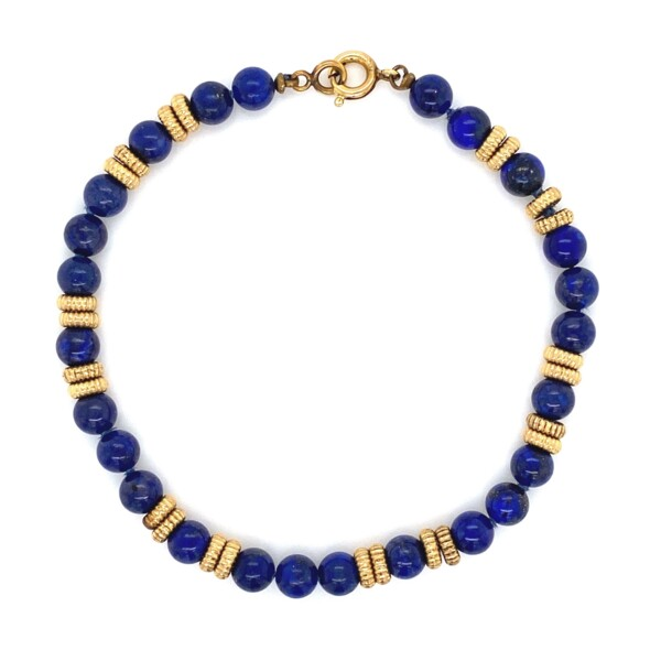 Closeup photo of GF YG Lapis 5.3mm Bead Bracelet 6.6g, 7""