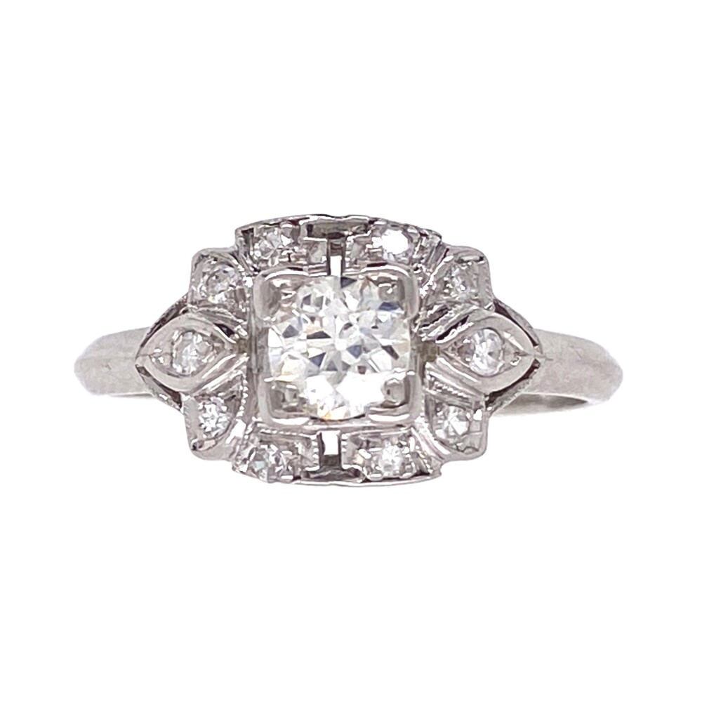 Image 3 for Platinum Art Deco .32 OEC Diamond Ring with .14tcw Sides