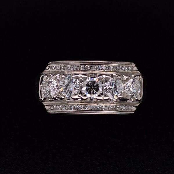 Closeup photo of 14K WG 1960's Diamond Bar Ring .90tcw, s7
