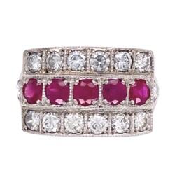 Closeup photo of 14K White Gold .98tcw Ruby & 1.12tcw Diamond 3 Row Band Ring, s6.5