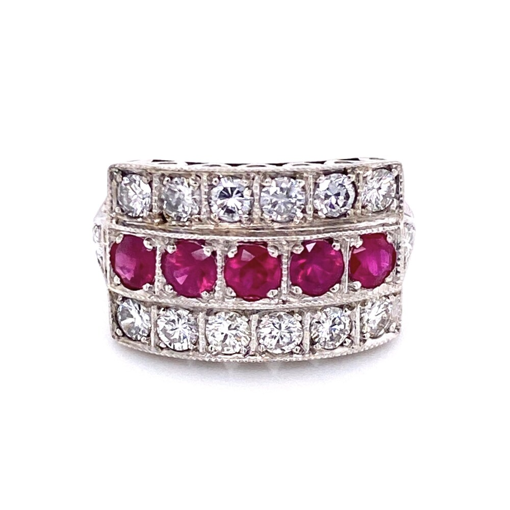Image 2 for 14K White Gold .98tcw Ruby & 1.12tcw Diamond 3 Row Band Ring, s6.5