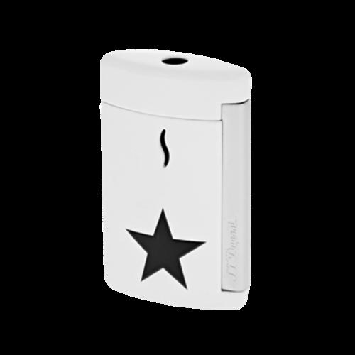 Closeup photo of S.T. Dupont Minijet Star Lighter, Chrome, White, 010532 - Platinum 1911