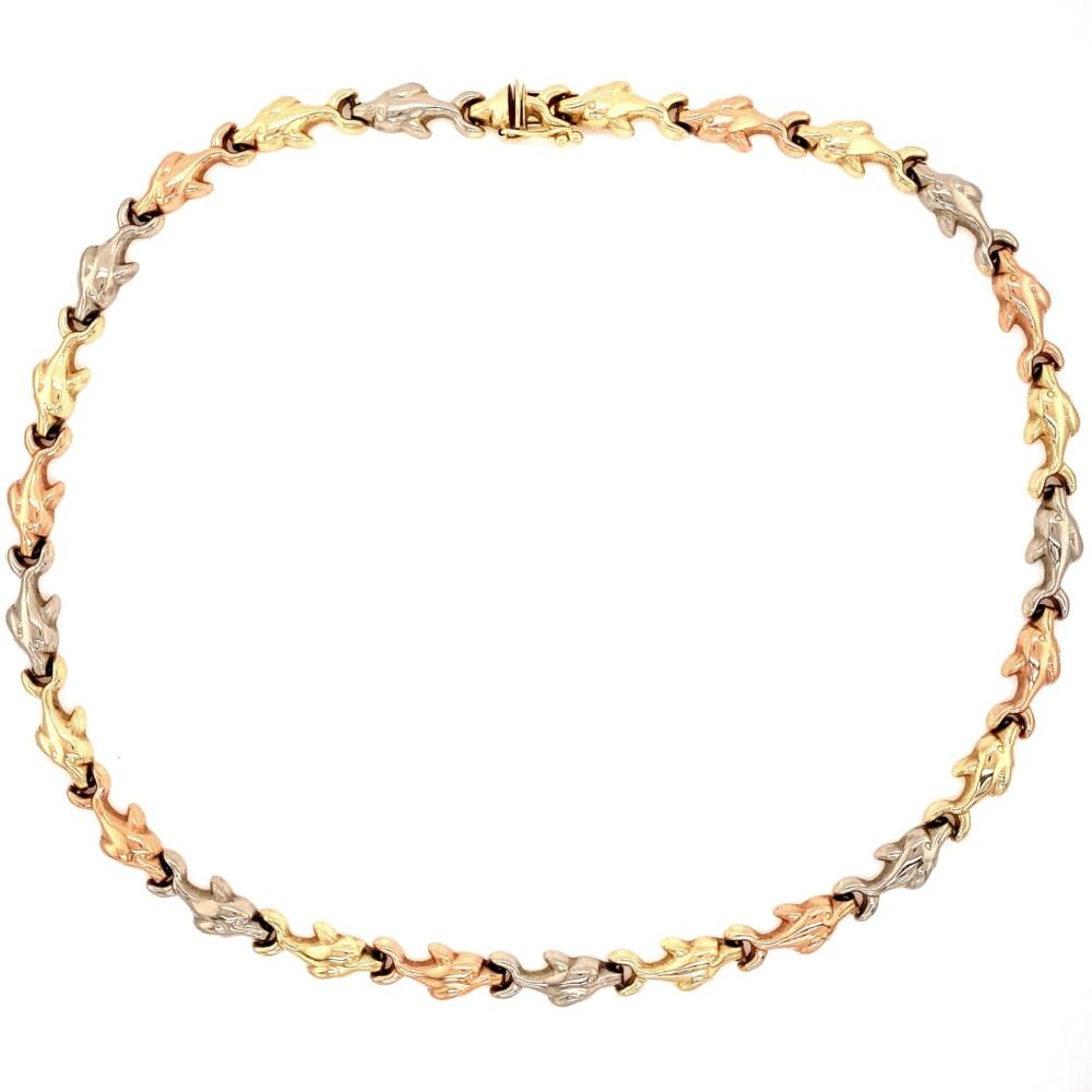 "14K YG/RG/WG Tri Color Dolphin Necklace 22.8g, 17"""