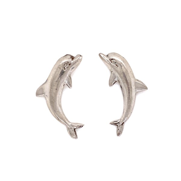 Closeup photo of 925 Sterling Dolphin Post & Friction Stud Earrings 3.2g
