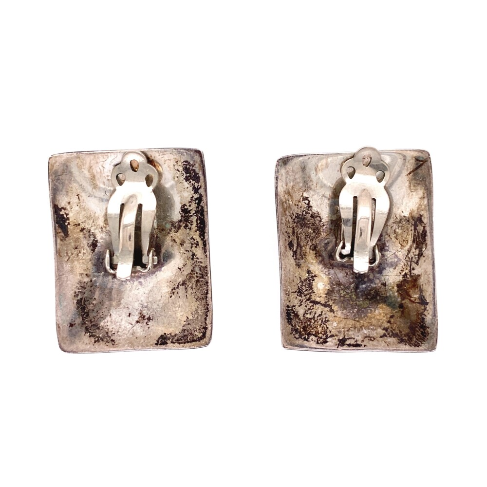 Image 2 for 925 Sterling Square Abalone Clip Earrings 13.3g