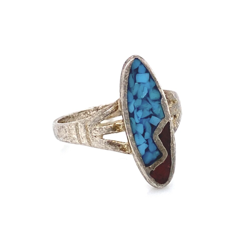Image 2 for 925 Sterling Native Turquoise & Coral Inlay Navette Ring 2.0g, s6