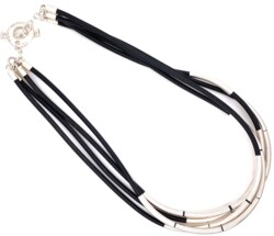"""Closeup photo of 925 Sterling & Black Leather 4 Cord Necklace 45.6g, 17.5"""""""