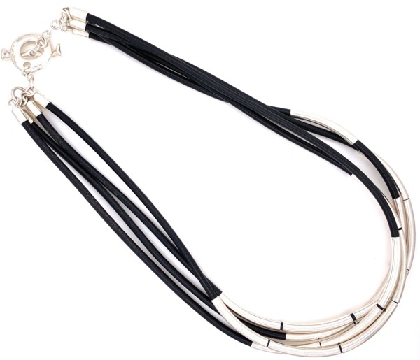 Closeup photo of 925 Sterling & Black Leather 4 Cord Necklace 45.6g, 17.5""