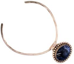 "Closeup photo of 925 Sterling Labradorite Pendant Collar Necklace 64.7g, 16"""