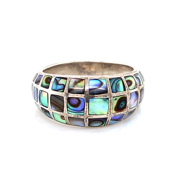 Closeup photo of 925 Sterling Mother Pearl Mosaic Inlay Ring 6.2g, s8