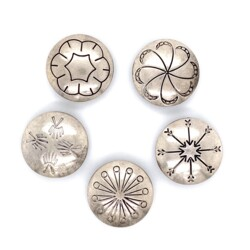 Closeup photo of 925 Sterling Native 5 Engraved Button Cover Set 19.3g