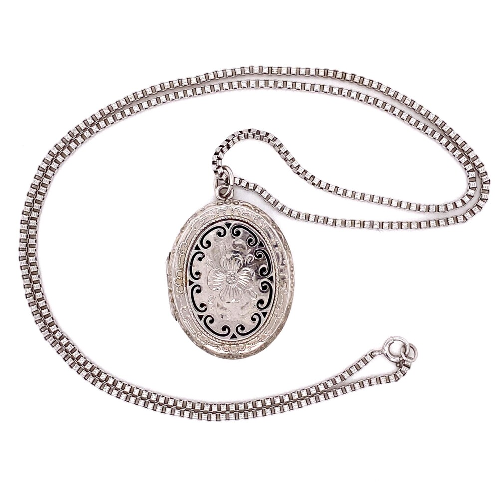 Image 2 for 925 Sterling Enamel & Engraved Locket 21.3g, 21""
