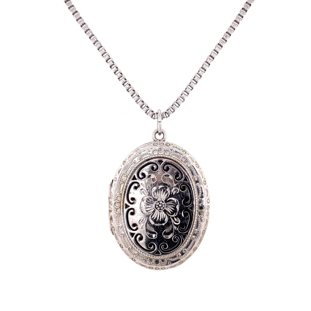 925 Sterling Enamel & Engraved Locket 21.3g, 21""