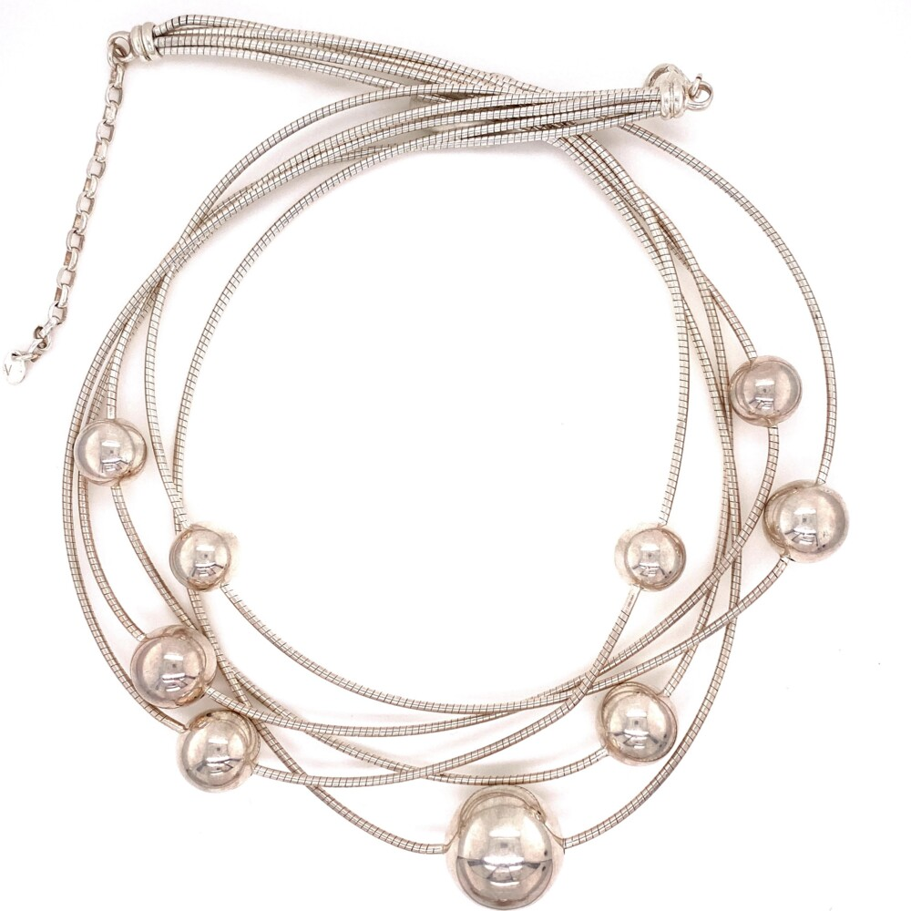 """Image 2 for 925 Sterling Liquid Silver & Sphere Necklace 60.9g, 20.75"""""""
