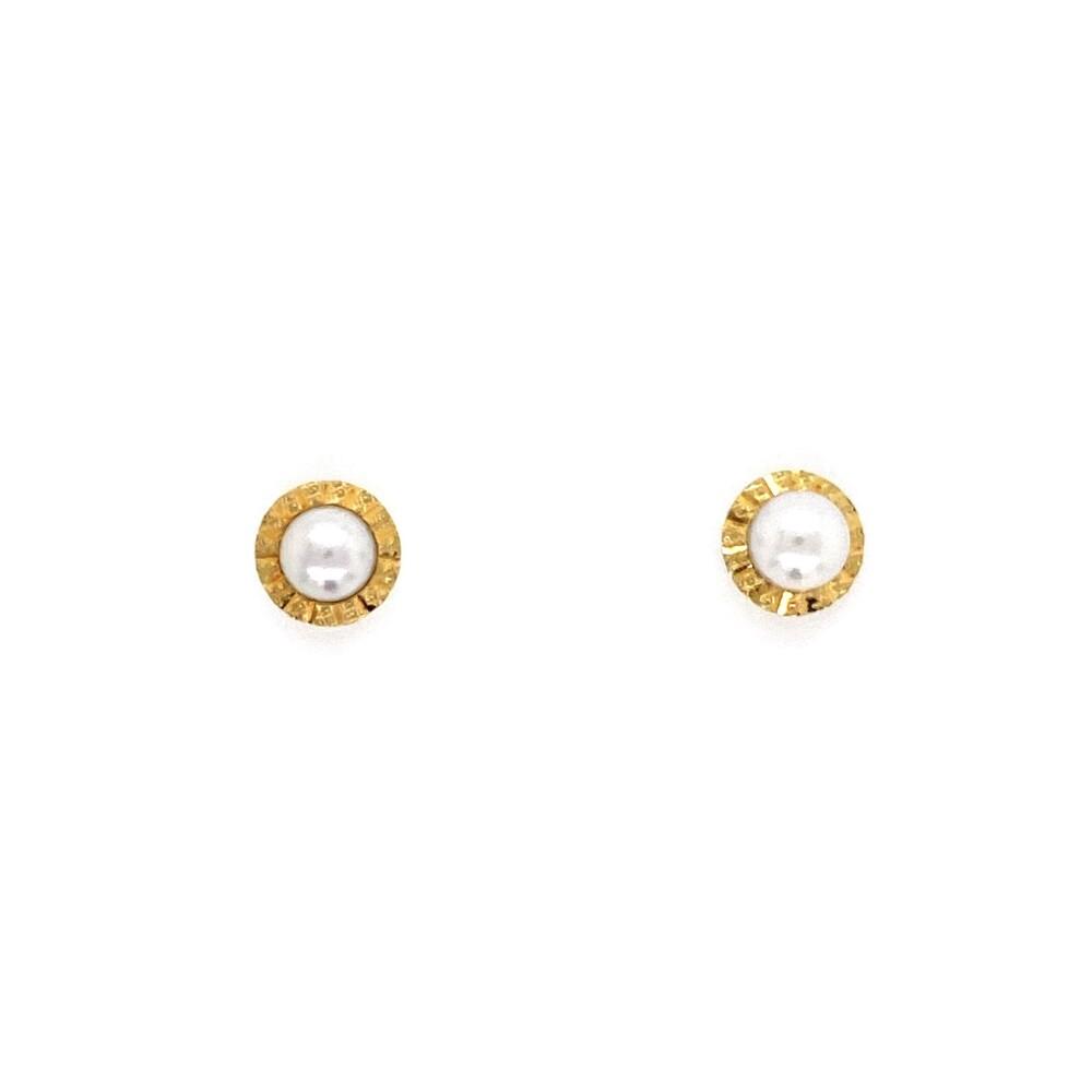 18K YG Fluted Bezel Pearl Stud Earrings for a Child 0.8g