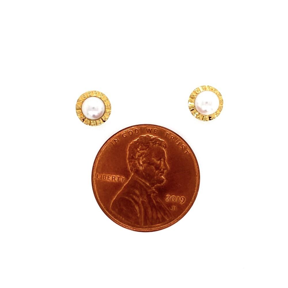 Image 2 for 18K YG Fluted Bezel Pearl Stud Earrings for a Child 0.8g