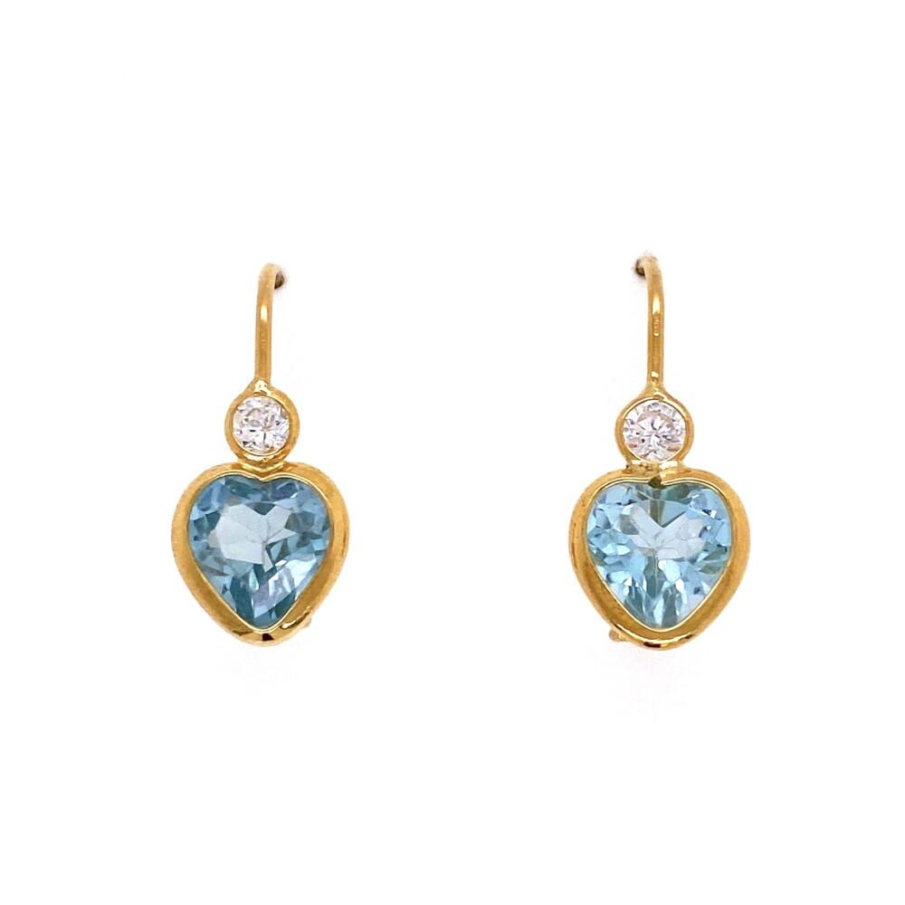 Image 2 for 14K YG Blue Heart Stone & CZ Earrings 2.6g