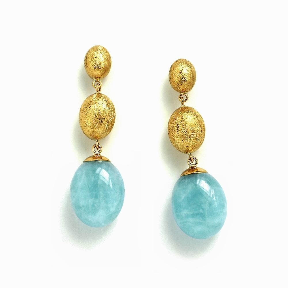 Dancing In The Rain Aquamarine 3-bead Dangle Earrings