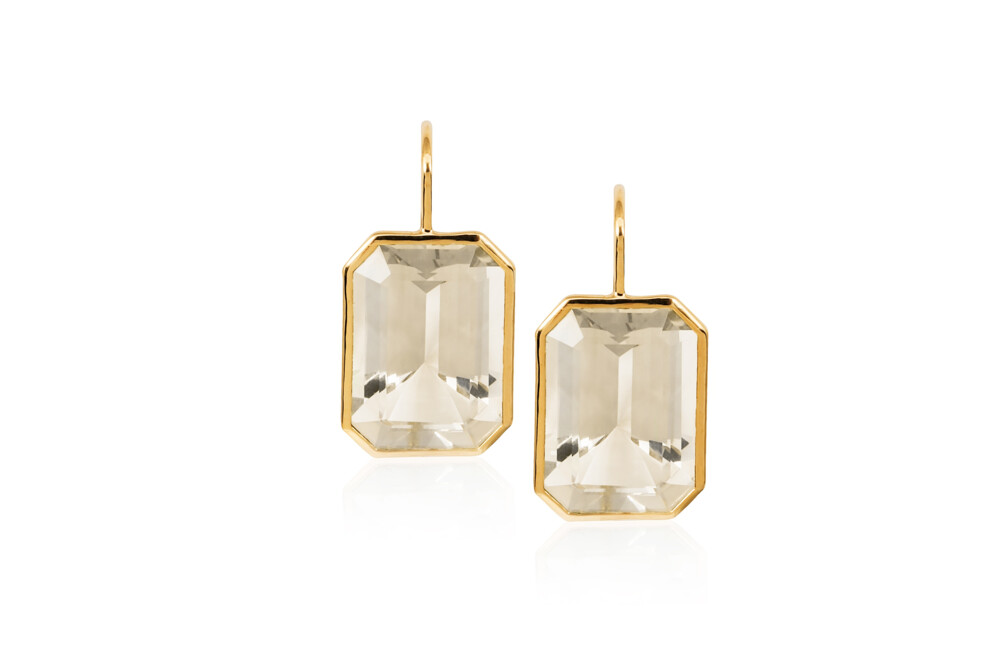 Gossip Emerald-cut Moon Quartz Earrings