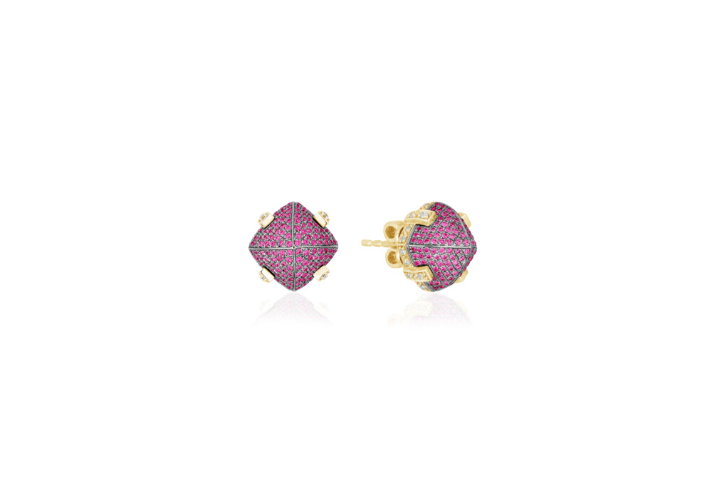 Sugarloaf Pave Ruby Earrings