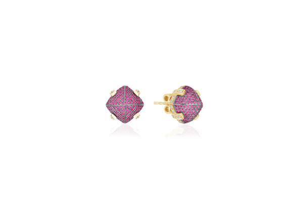 Closeup photo of Sugarloaf Pave Ruby Earrings