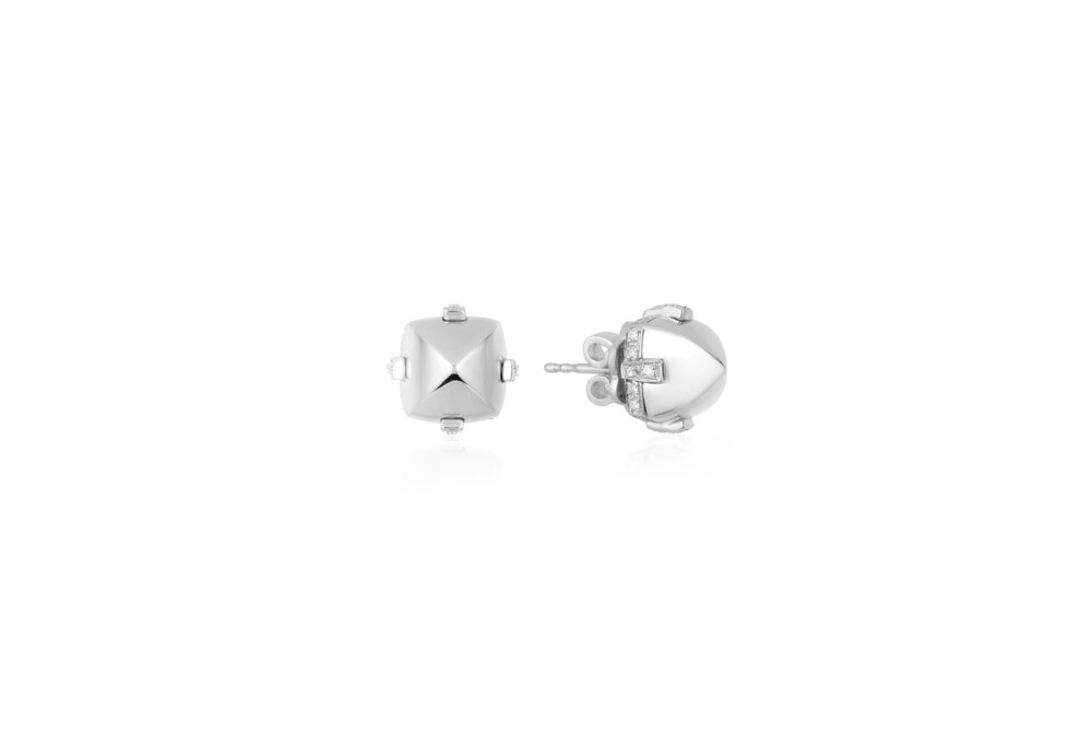 Sugarloaf Pave White Gold Earrings