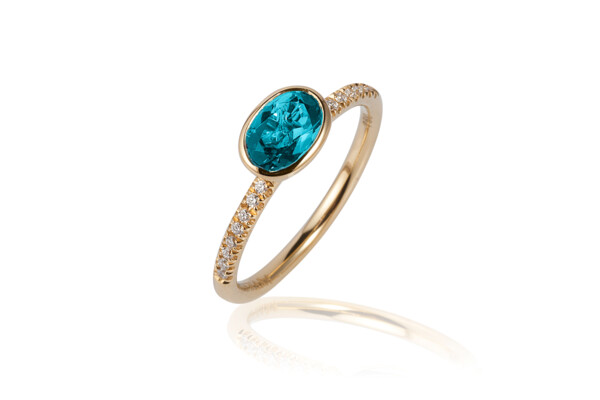 Closeup photo of Gossip Blue Topaz Ring
