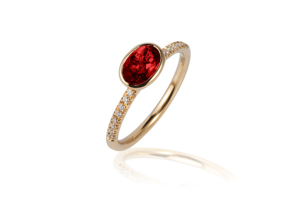 Closeup photo of Gossip Garnet Ring